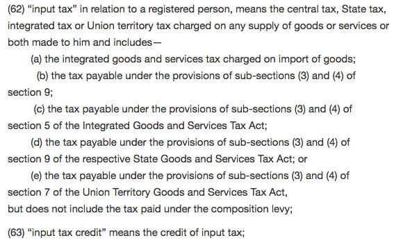 input tax credit as per cgst act