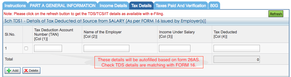 ITR-1 TDS and tax details